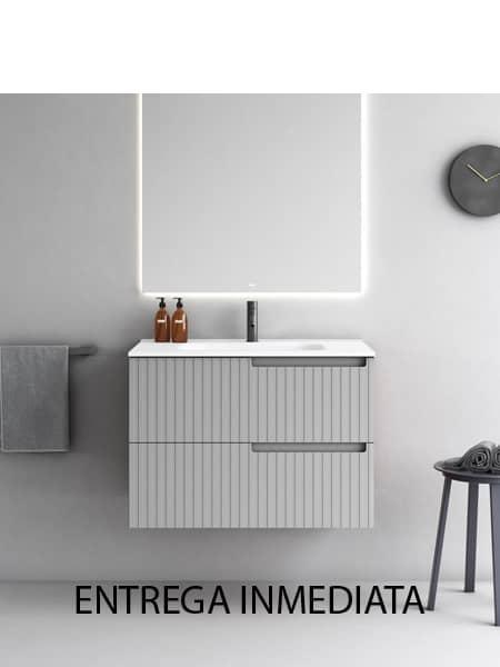 Mueble de baño suspendido 2 cajones con uñero derecho Sinergy de Fiora 802 x 455 x 560 cm. textura Surato color blanco,