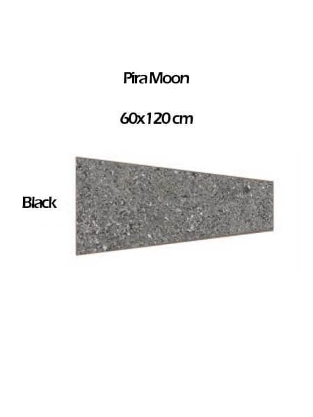 Pavimento porcelánico rectificado técnico lapado Pira Moon black 60x120 cm (0,54 m2/cj)
