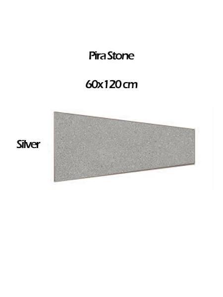 Pavimento porcelánico rectificado técnico Pira Stone Silver 60x120 cm (0,54 m2/cj)