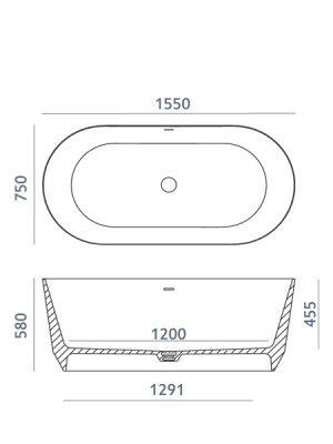 Bañera exenta Dolotekvenet 155x75 cm .Bañera de libre instalación de blanco puro. Una bañera de líneas curvas con una frágil curvatura.