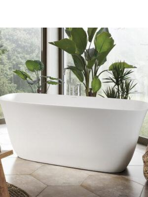 Bañera exenta Doloteklech 170,4x81,3 cm .Bañera de libre instalación de blanco puro. Una bañera de líneas curvas con una frágil curvatura.