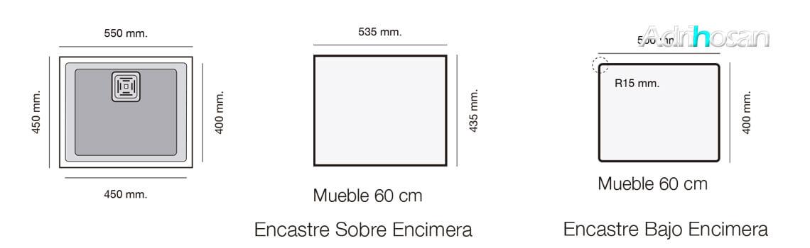 Fregadero de fibra Zie 50 bajo encimera Poalgi.