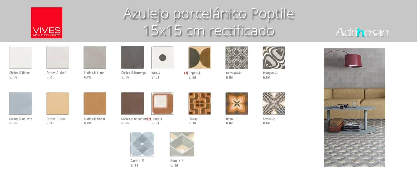 Pavimento porcelánico rectificado 15x15 cm poptile