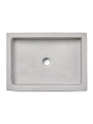 Lavabo cemento rectangular iroko 50 x 35 x 08 cm. mezcla de caliza y arcilla
