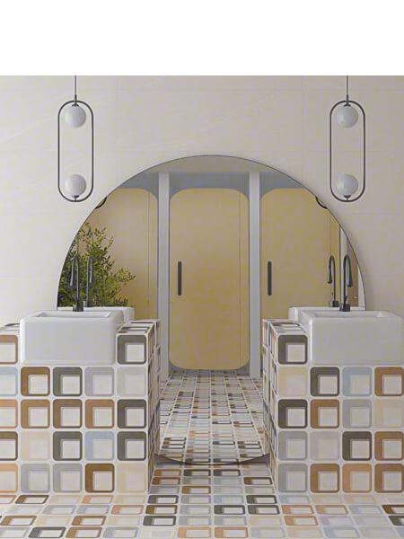 Pavimento porcelánico Pop tile Sixties-R Nácar 15x15 cm (1 m2/cj)