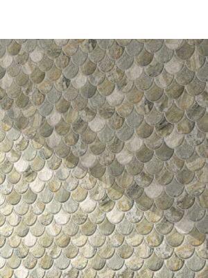 Azulejo porcelánico escama pez Scale Stone Nature 30.7x30.7 cm. Una escama de pez porcelánica que te encantará.