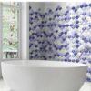 Azulejo porcelánico escama pez Scale Shell Blue 30.7x30.7 cm. Una escama de pez porcelánica que te encantará.
