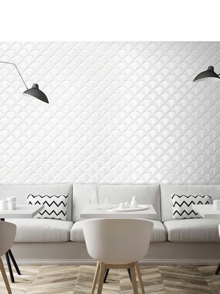 Azulejo porcelánico escama de pez Scale Shell Blanco Brillo 30.7x30.7 cm (0.75 m2/cj)