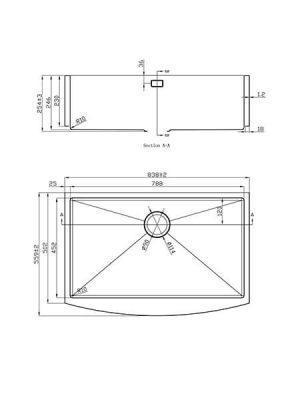 Fregadero de Acero Inoxidable Circón 1 838x559 mm.
