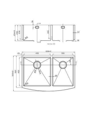 Fregadero de Acero Inoxidable Circón 2 senos 838x559 mm.