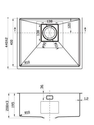 Fregadero de Acero Inoxidable Agata Pro 540×400 mm