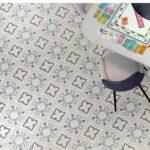 Pavimento porcelánico Bucareli-R Cielo 20x20 cm. Una serie de azulejos efecto hidráulico.