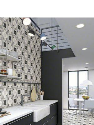 Pavimento porcelánico Bucareli-R Gris 20x20 cm. Una serie de azulejos efecto hidráulico.