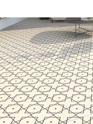 Pavimento porcelánico Elíseos-R Blanco 20x20 cm. Una serie de azulejos efecto hidráulico.