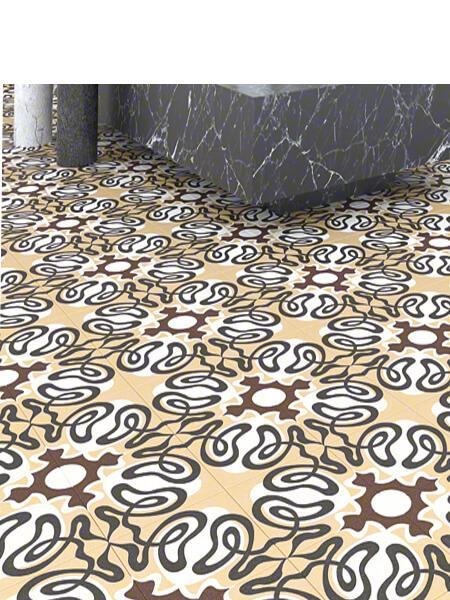 Pavimento porcelánico Suanzes-R Pardo 20x20 cm. Una serie de azulejos efecto hidráulico.