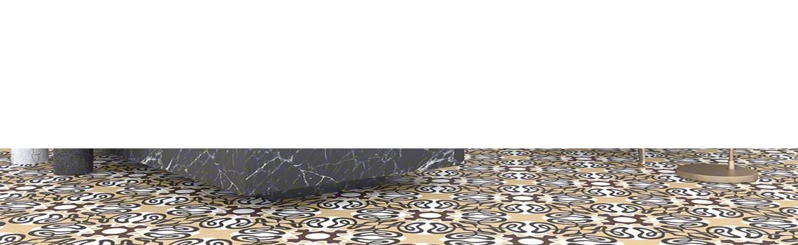 Pavimento porcelánico Linden-R Cielo 20x20 cm. Una serie de azulejos efecto hidráulico.