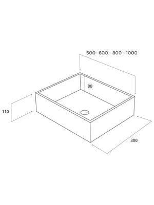 Lavabo Solid Surface rectangular krion k-life Harlem blanco.