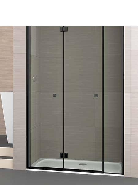 Mampara de ducha plegable Palau 2 puertas + lateral perfil negro antical .