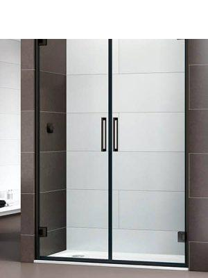 Mampara de ducha Bisagra 180º Selecta 2 puertas perfil negro antical.