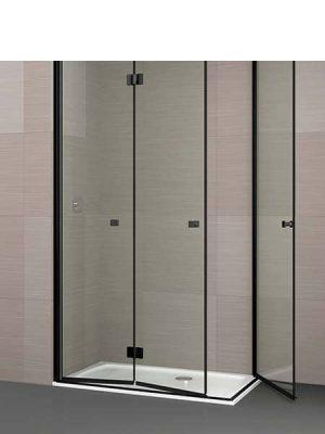 Mampara de ducha plegable Palau angular 3 puertas perfil negro antical .