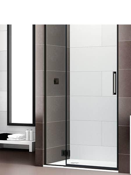 Mampara de ducha bisagra 180º articulada Selecta negro mate.