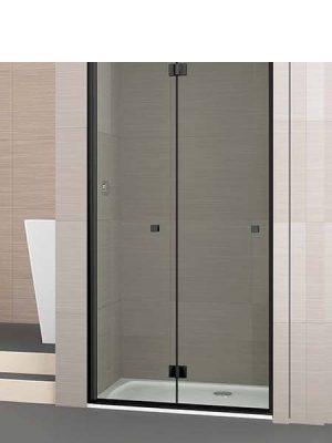 Mampara de ducha plegable Palau 2 puertas perfil negro antical .