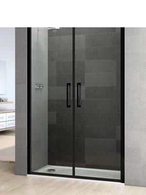 Mampara de ducha vaivén Prisma 2 puertas perfil negro antical