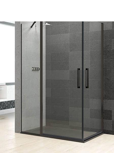 Mampara de ducha angular Prisma 1 fijo 2 puertas perfil negro antical .