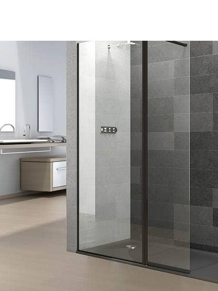 Mampara de ducha vaivén Prisma Sport + fijo perfil negro antical