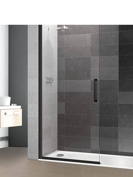 Mampara de ducha vaivén Prisma Sport perfil negro antical