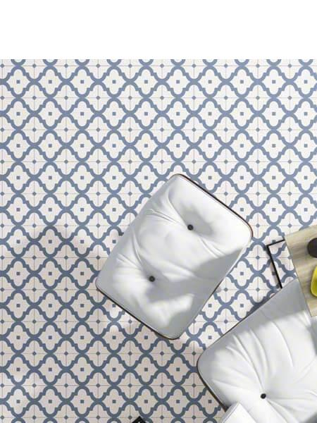Pavimento porcelánico Maori Ladakhi Cielo 20x20 cm. Una serie de azulejos efecto hidráulico.