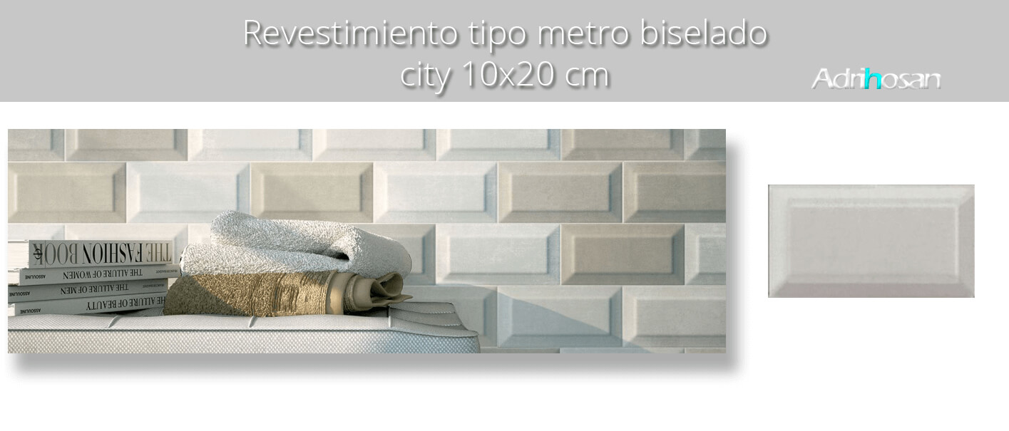 Azulejo tipo metro biselado city 10X20 cm. El clásico azulejo para decoraciones retro o vintage o incluso modernas o minimalistas. Primera calidad.