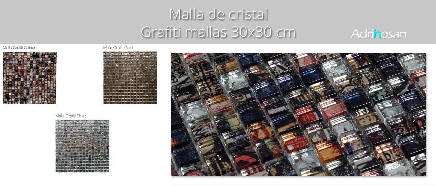 Malla de cristal grafiti colour 30x30 cm. Malla de cristal de tesela pequeña para realizar decoraciones espectaculares en baños o cocinas.