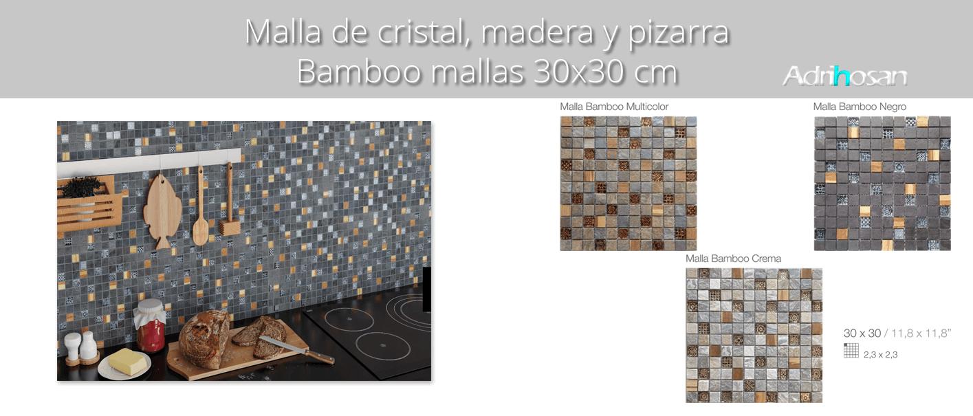 Malla de cristal, madera y pizarra Bamboo 30x30 cm. Canto rodado aplanado de piedra natural ideal para decoraciones de platos de ducha y exteriores.