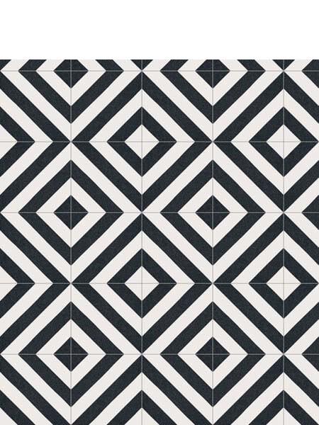 Pavimento porcelánico Maori Goroka Grafito 20x20 cm. Una serie de azulejos efecto hidráulico.