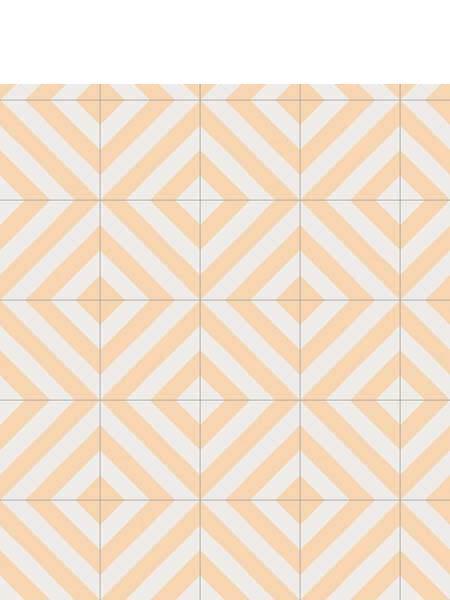Pavimento porcelánico Maori Goroka Ocre 20x20 cm. Una serie de azulejos efecto hidráulico.