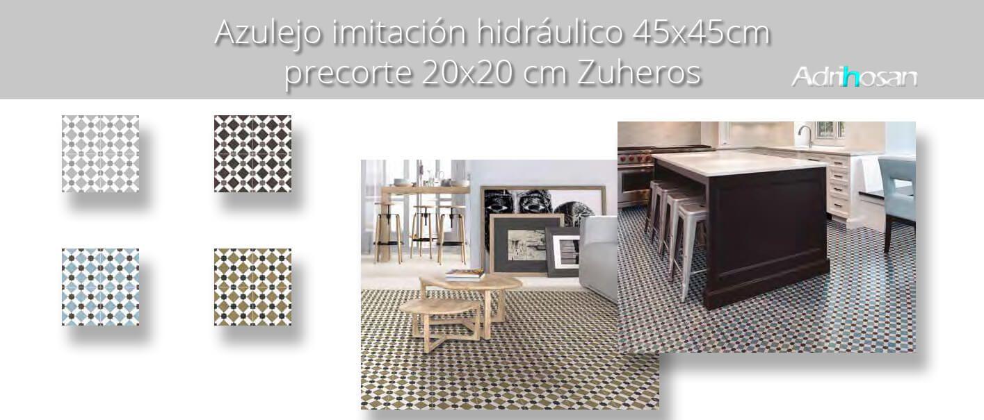 Pavimento porcelánico hidráulico Zuheros 45x45 cm precorte 20x20 cm.